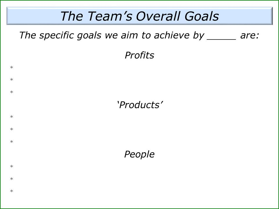 The Team's Overall Goals