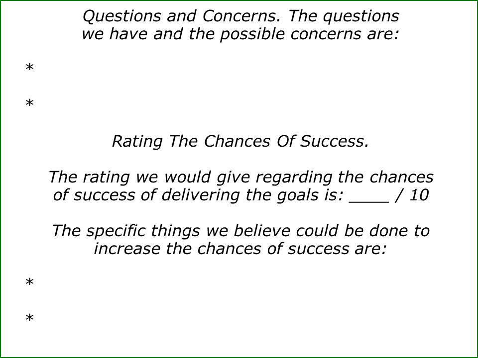 Rating The Chances Of Success.