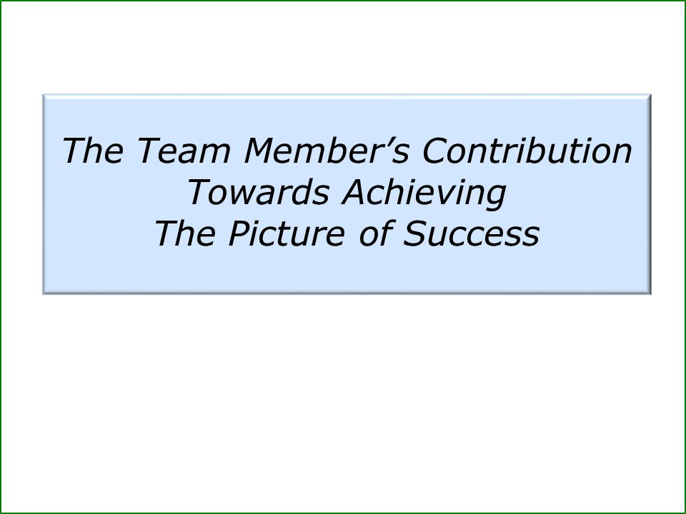 The Team Member's Contribution Towards Achieving The Picture of Success