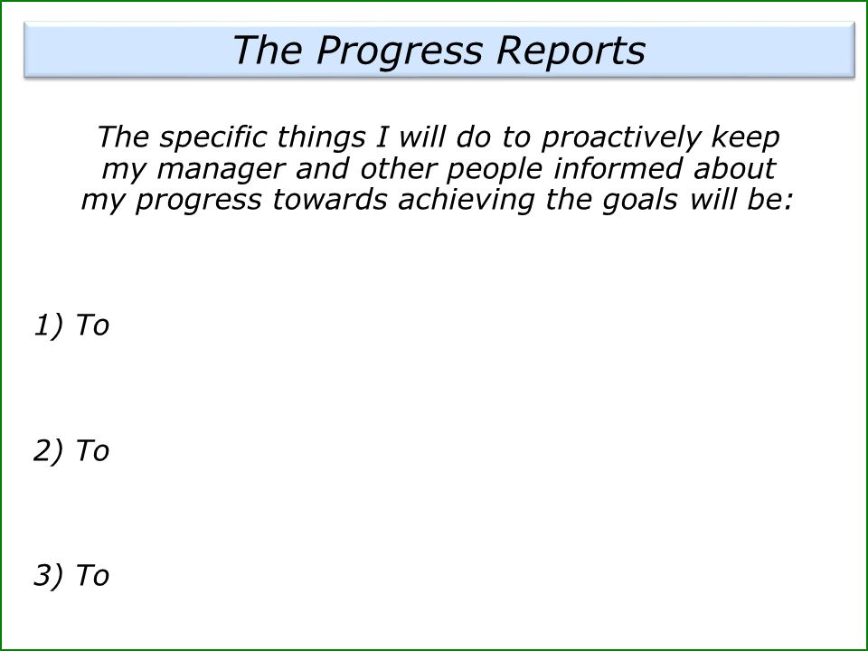 The Progress Reports