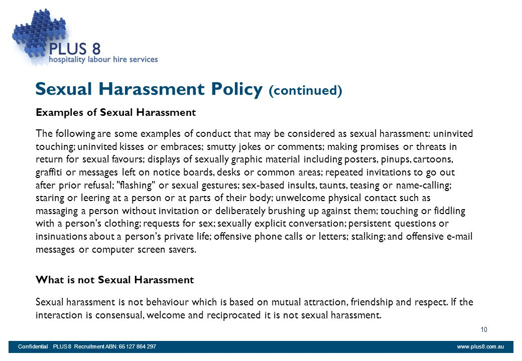 Sexual Harassment Policy (continued)