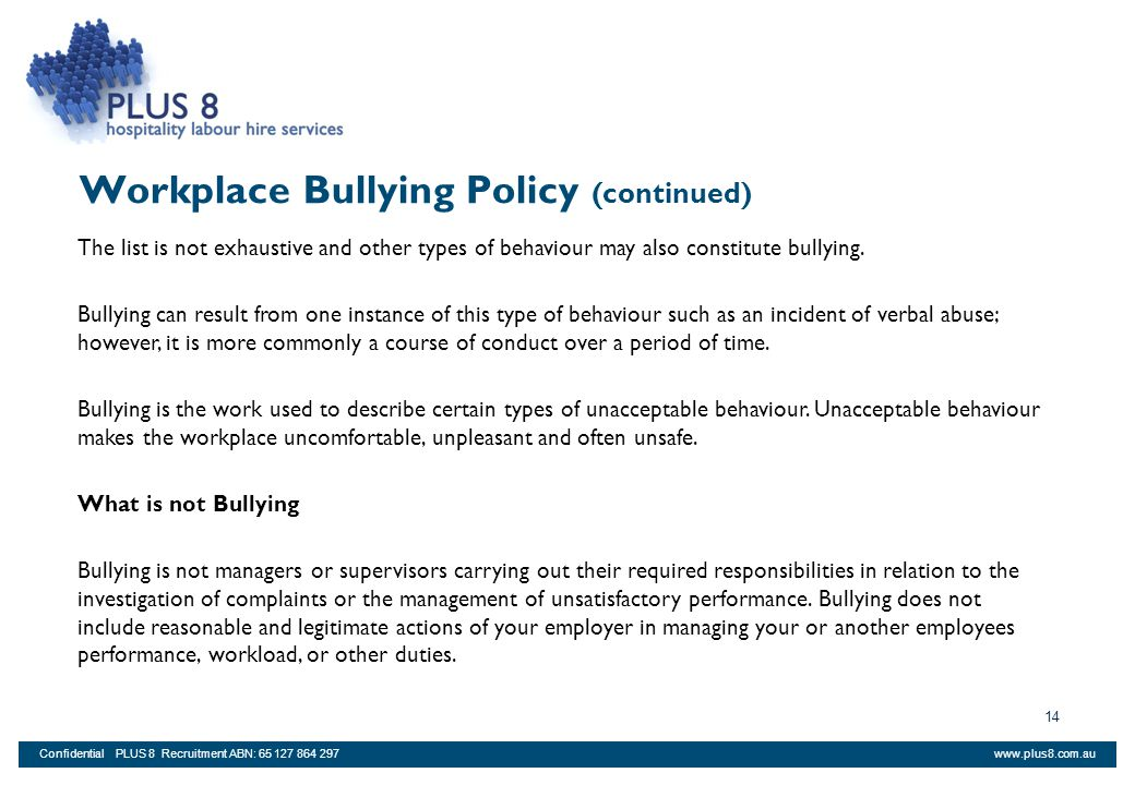 Workplace Bullying Policy (continued)