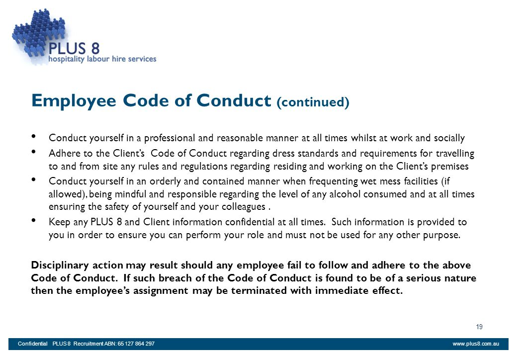 Employee Code of Conduct (continued)