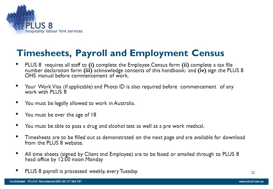 Timesheets, Payroll and Employment Census