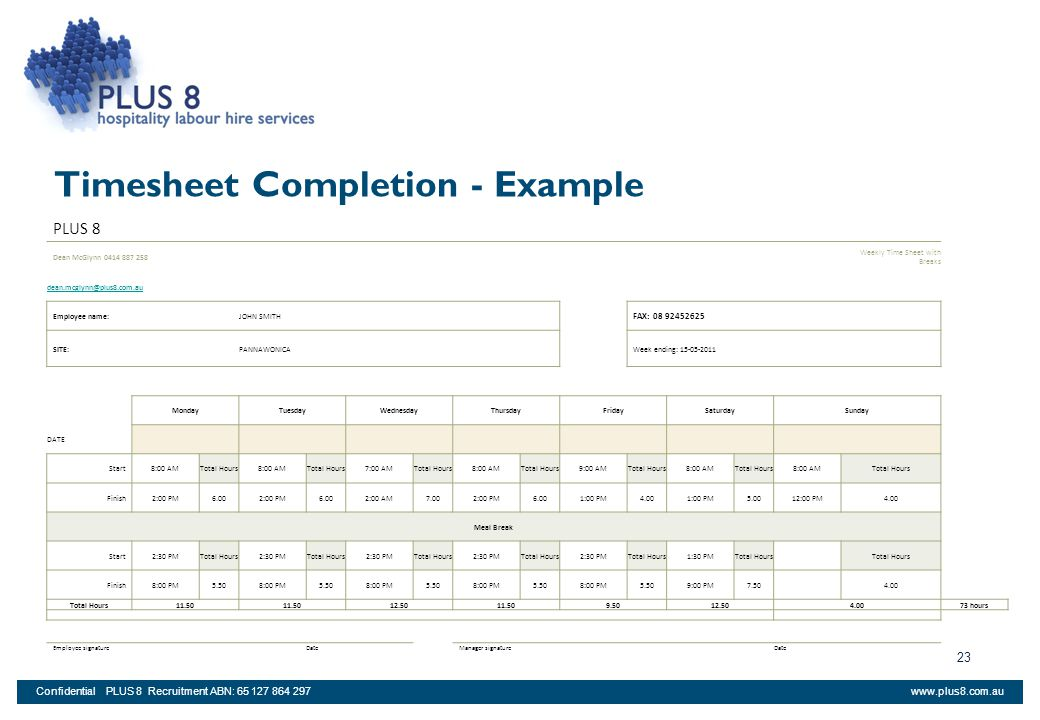 Timesheet Completion - Example