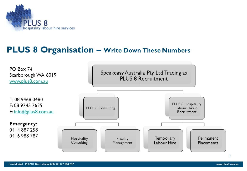 PLUS 8 Organisation – Write Down These Numbers