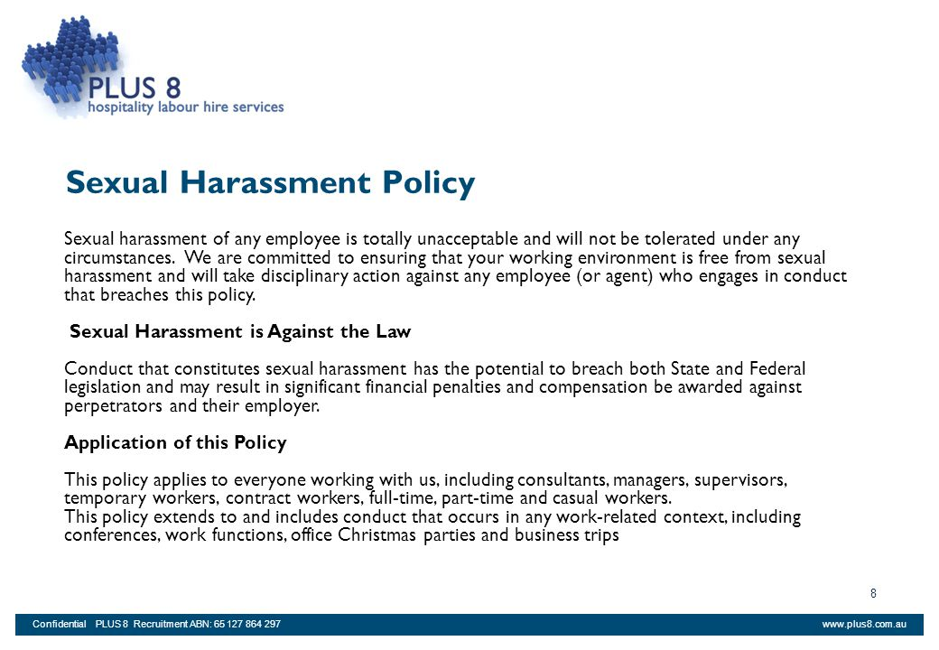 policy sexual work harrassment