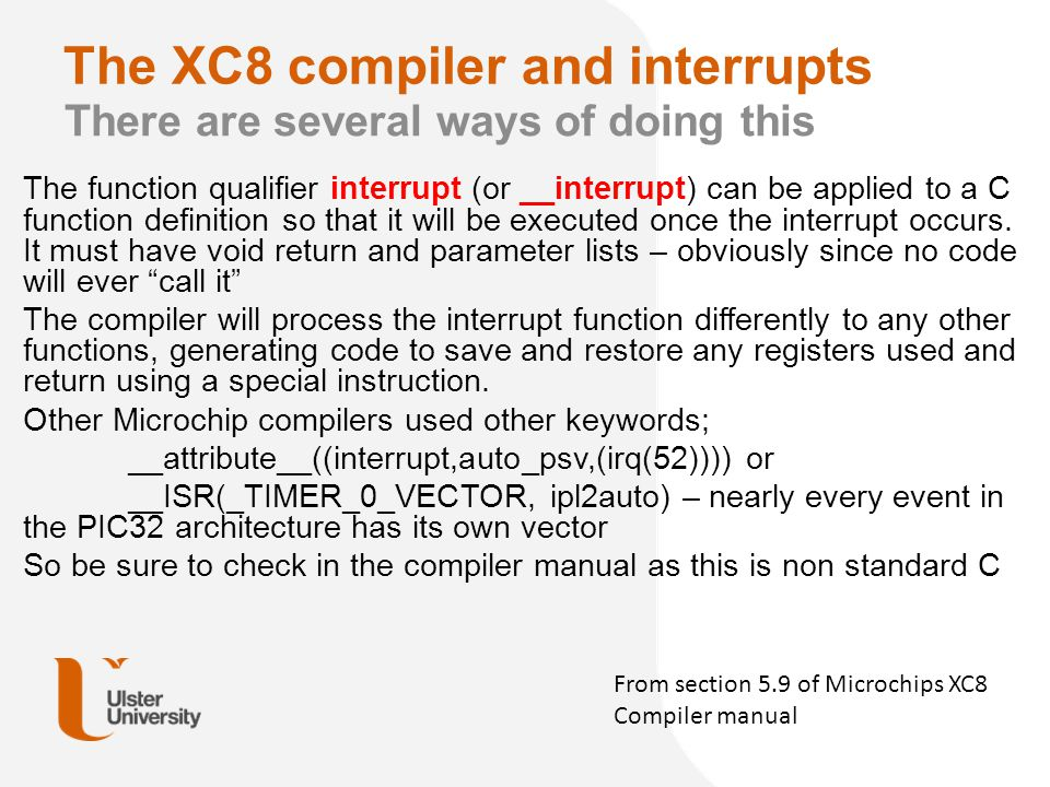 The XC8 compiler and interrupts