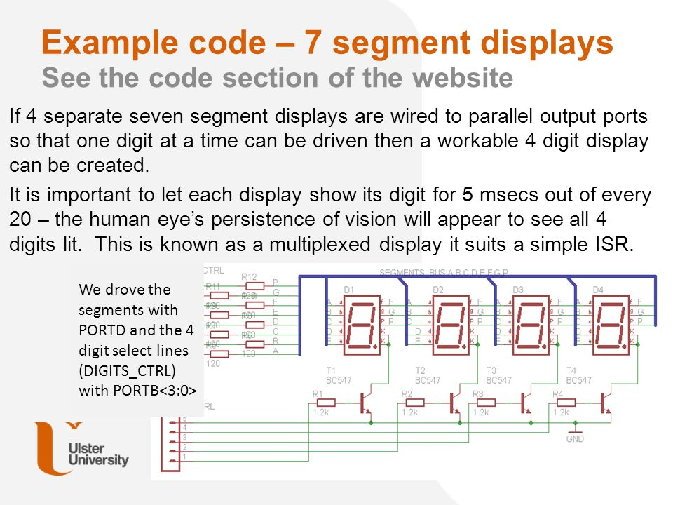 Example code – 7 segment displays