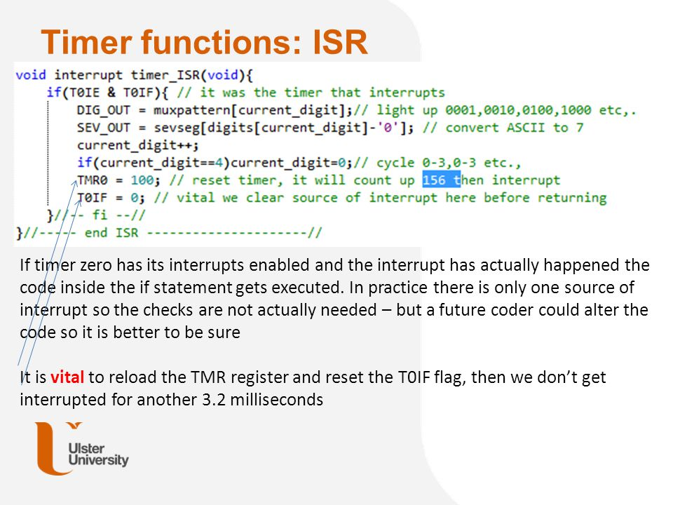 Timer functions: ISR
