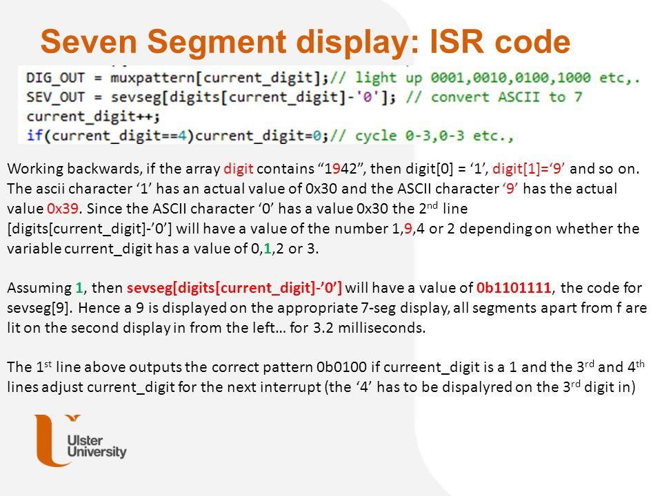 Seven Segment display: ISR code
