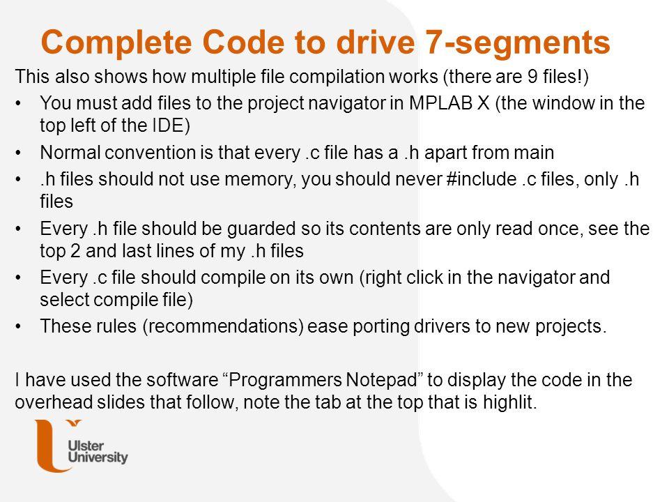Complete Code to drive 7-segments