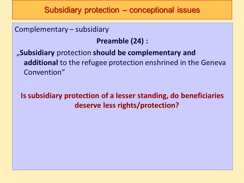 Subsidiary protection – conceptional issues