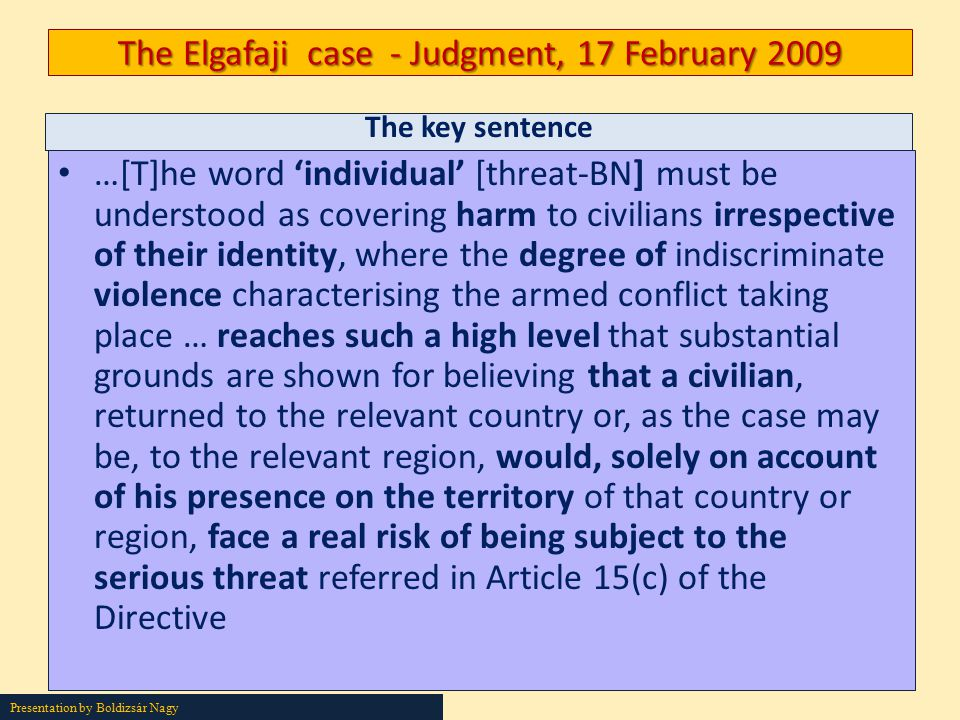The Elgafaji case - Judgment, 17 February 2009