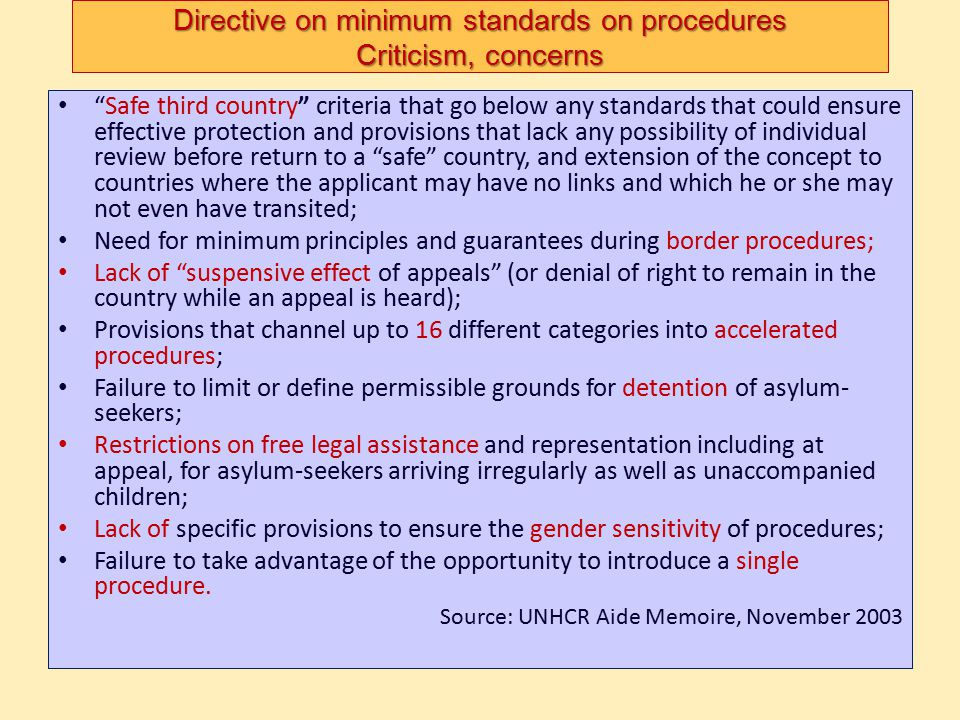 Directive on minimum standards on procedures Criticism, concerns