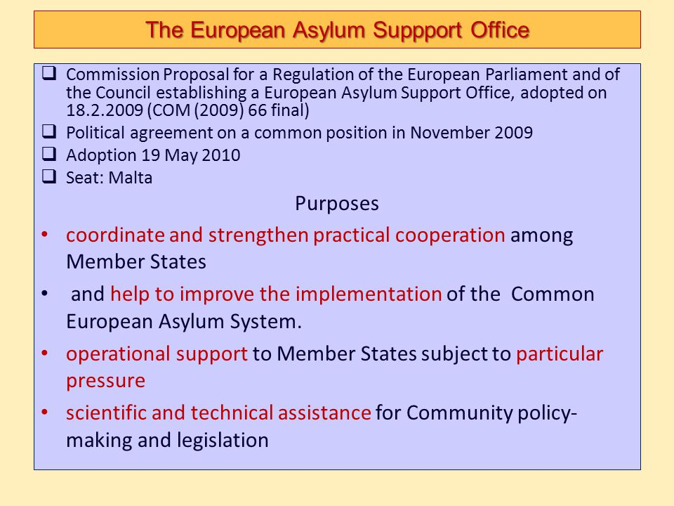The European Asylum Suppport Office