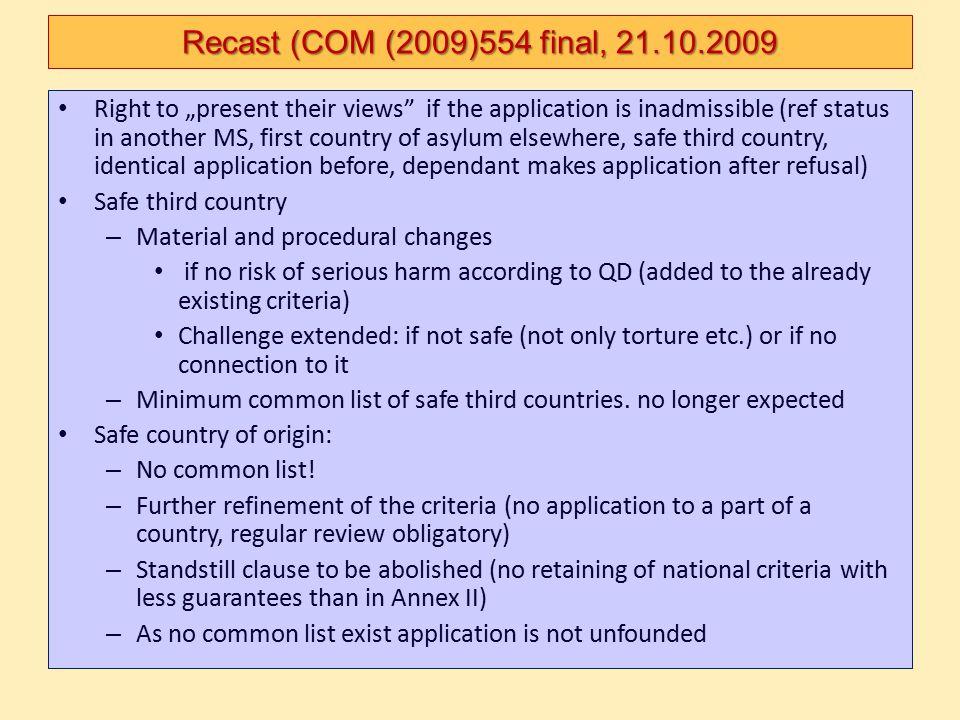 Recast (COM (2009)554 final, 21.10.2009
