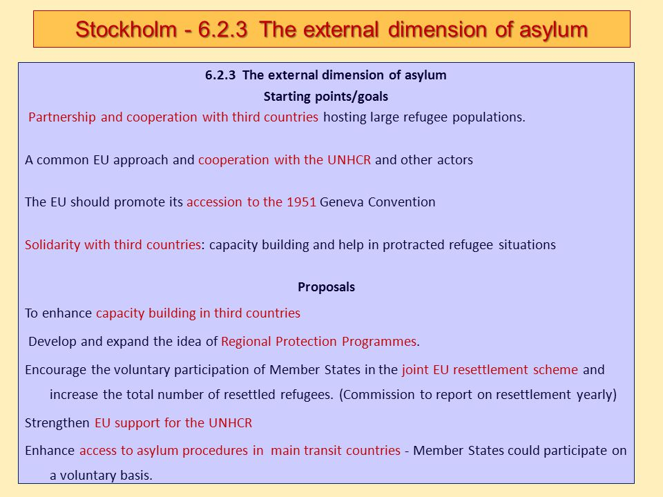Stockholm - 6.2.3 The external dimension of asylum