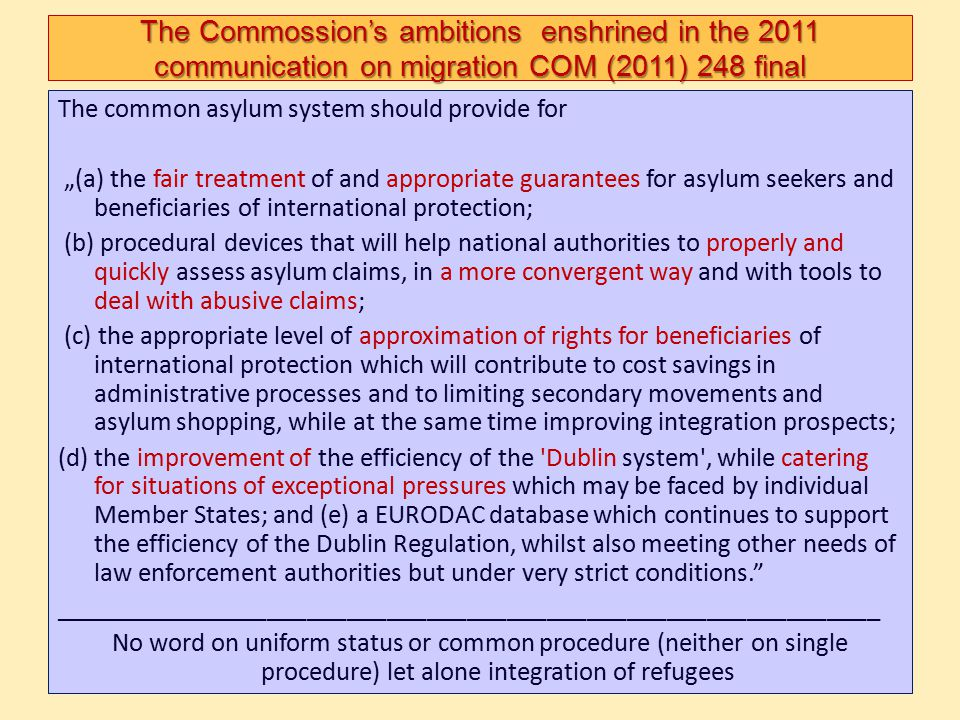 The Commossion's ambitions enshrined in the 2011 communication on migration COM (2011) 248 final