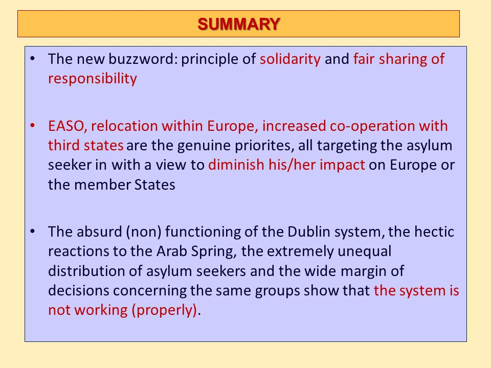 SUMMARY The new buzzword: principle of solidarity and fair sharing of responsibility.