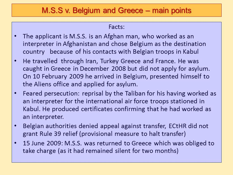 M.S.S v. Belgium and Greece – main points