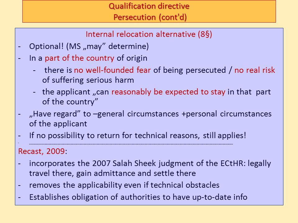 Qualification directive Persecution (cont d)