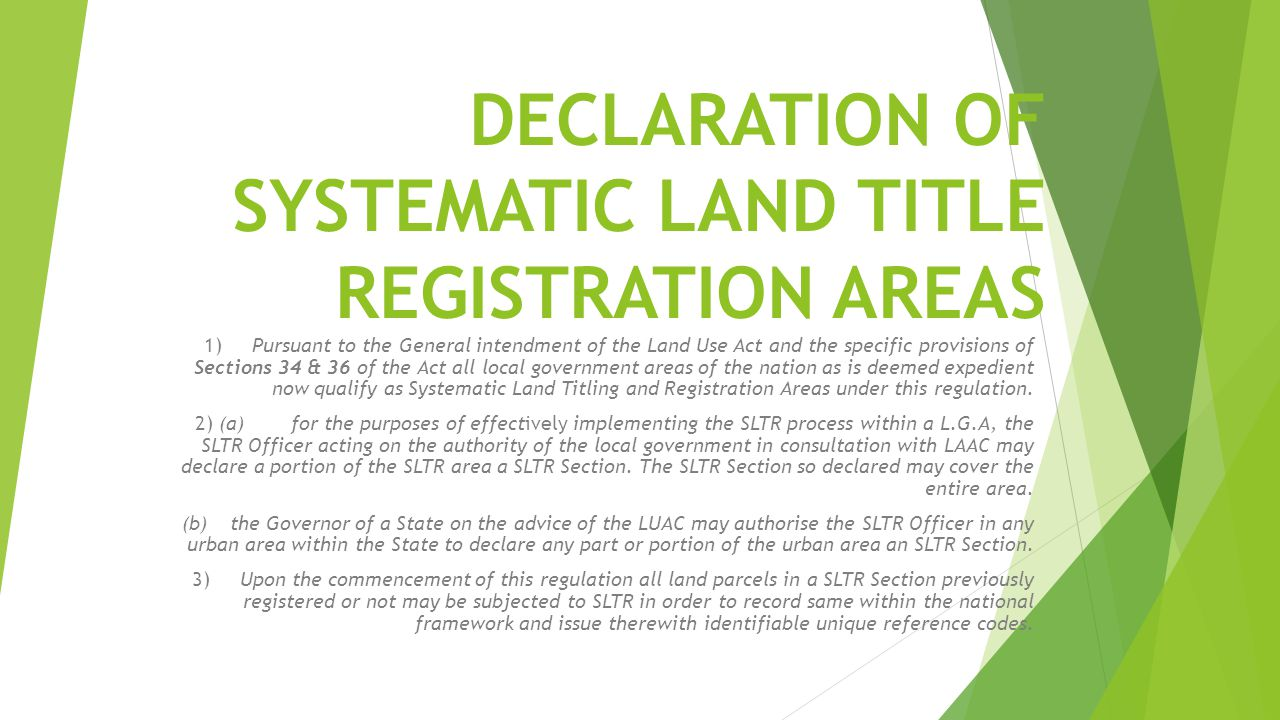 DECLARATION OF SYSTEMATIC LAND TITLE REGISTRATION AREAS