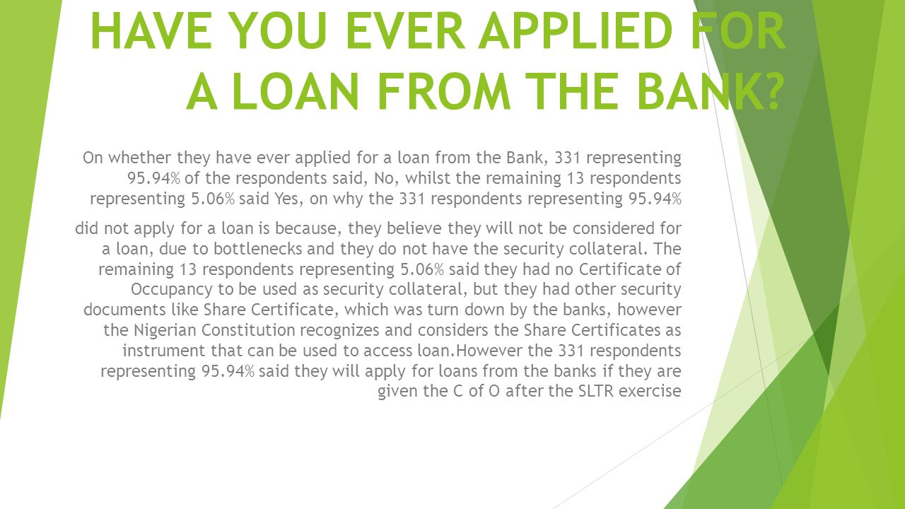 HAVE YOU EVER APPLIED FOR A LOAN FROM THE BANK
