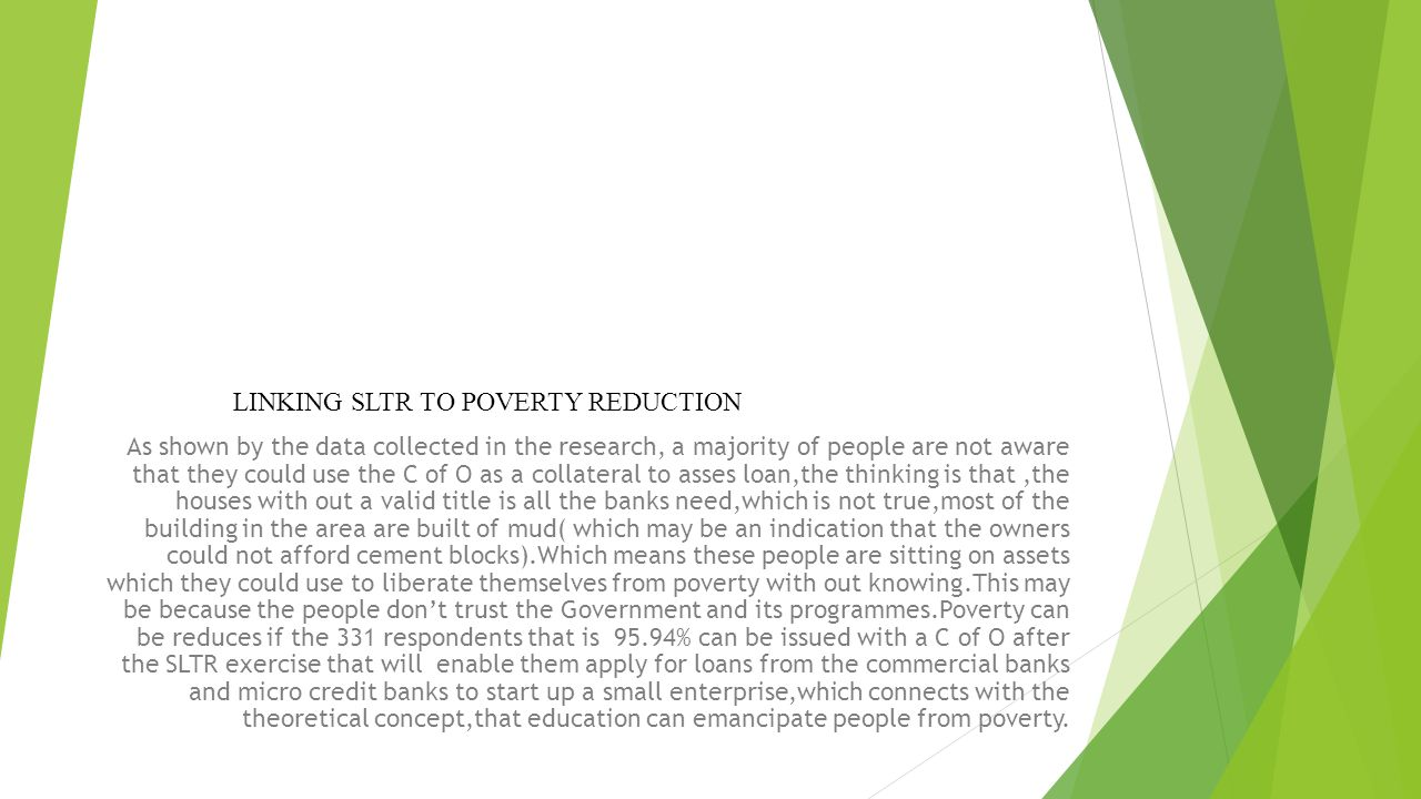 LINKING SLTR TO POVERTY REDUCTION