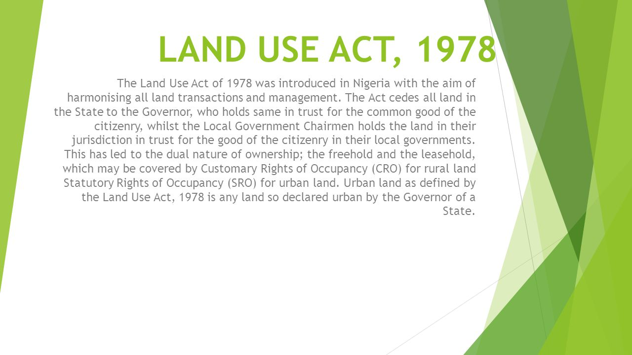 LAND USE ACT, 1978