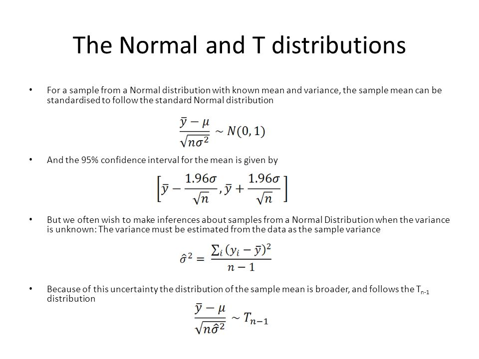 The Normal and T distributions