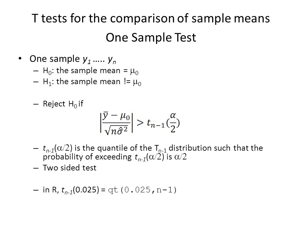 T tests for the comparison of sample means One Sample Test
