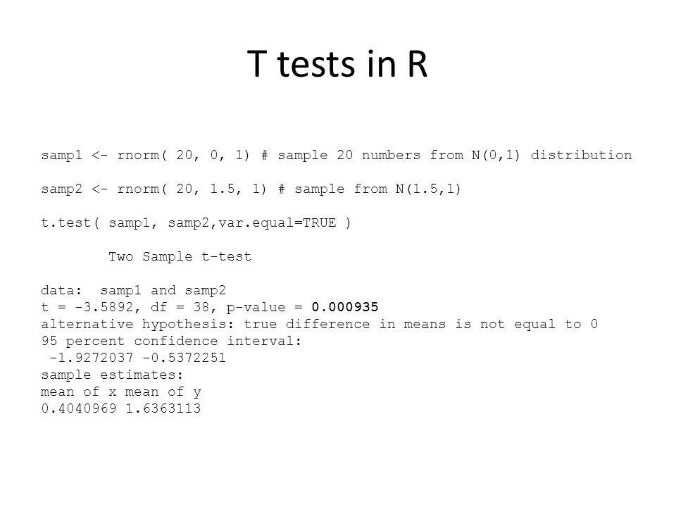 T tests in R samp1 <- rnorm( 20, 0, 1) # sample 20 numbers from N(0,1) distribution. samp2 <- rnorm( 20, 1.5, 1) # sample from N(1.5,1)