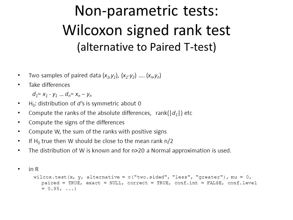 Non-parametric tests: Wilcoxon signed rank test (alternative to Paired T-test)