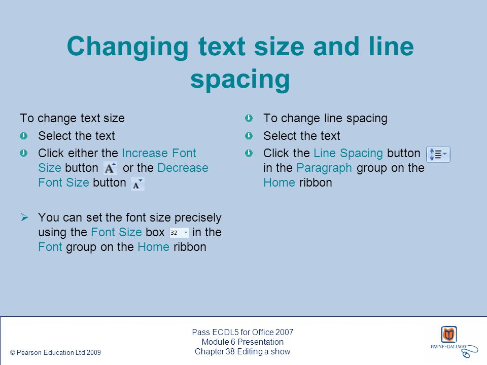 Changing text size and line spacing