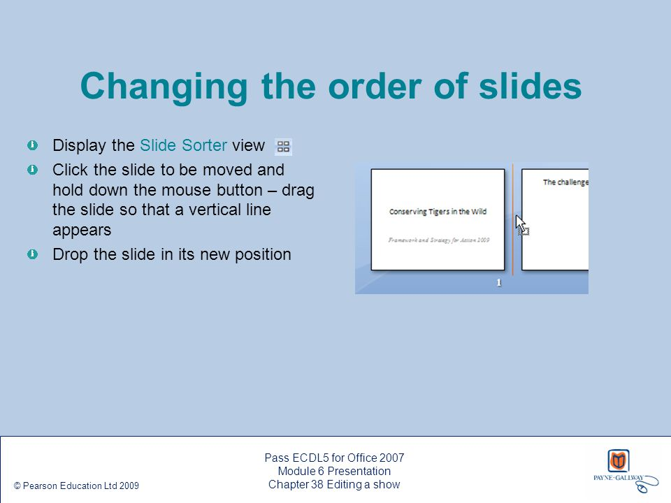 Changing the order of slides