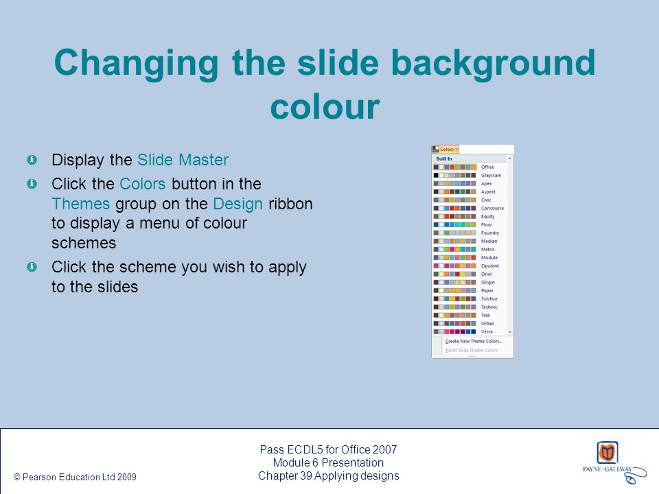 Changing the slide background colour