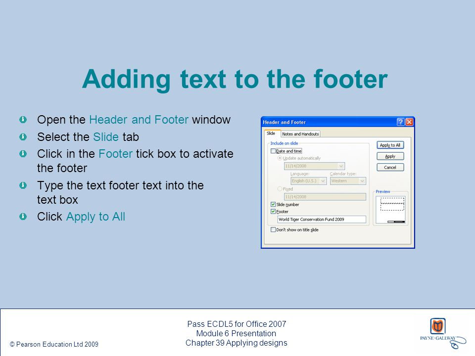 Adding text to the footer