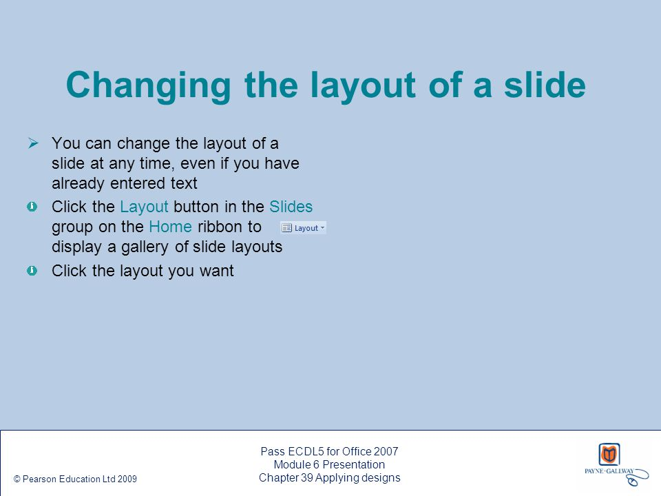 Changing the layout of a slide