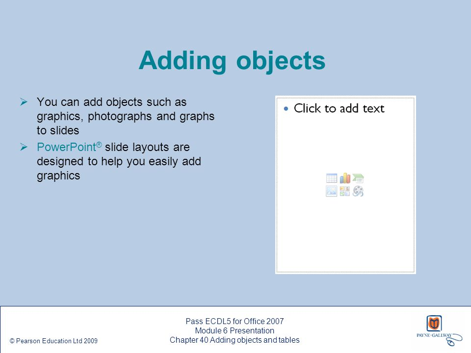 Chapter 40 Adding objects and tables