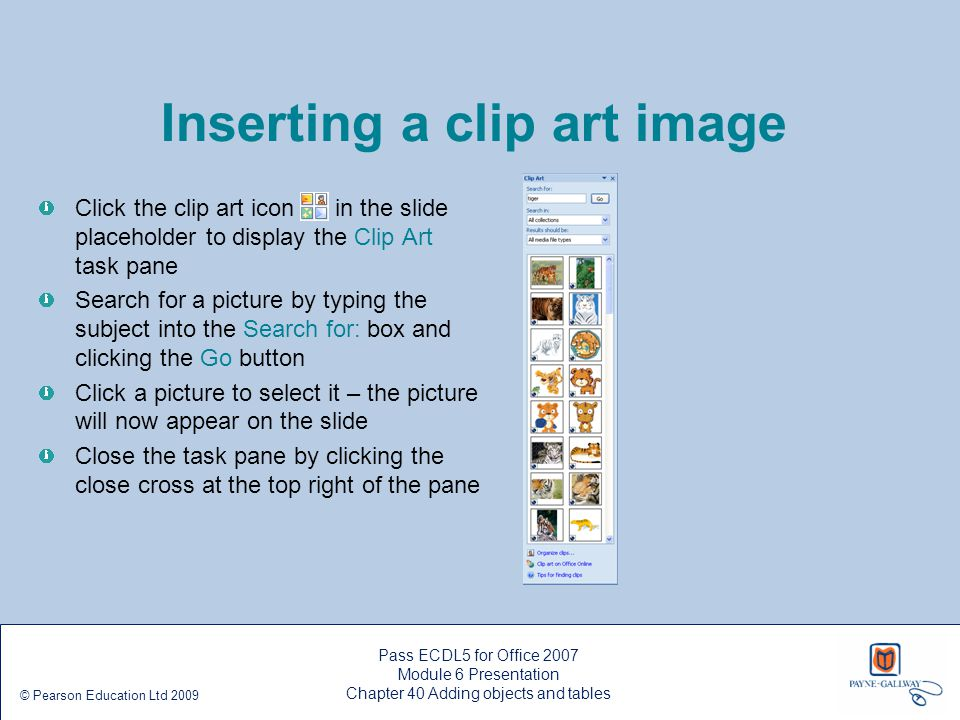 Inserting a clip art image