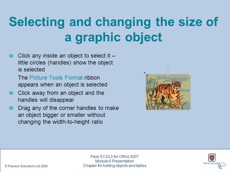Selecting and changing the size of a graphic object