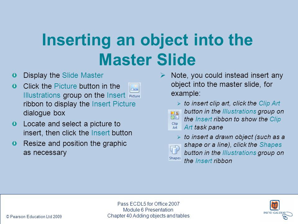 Inserting an object into the Master Slide