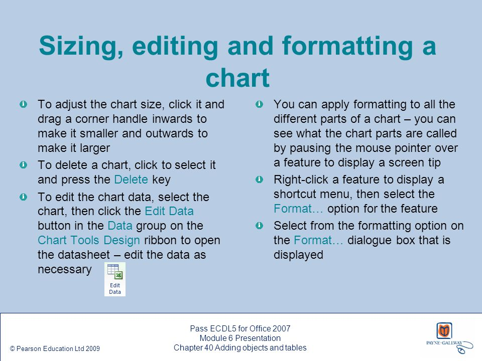 Sizing, editing and formatting a chart
