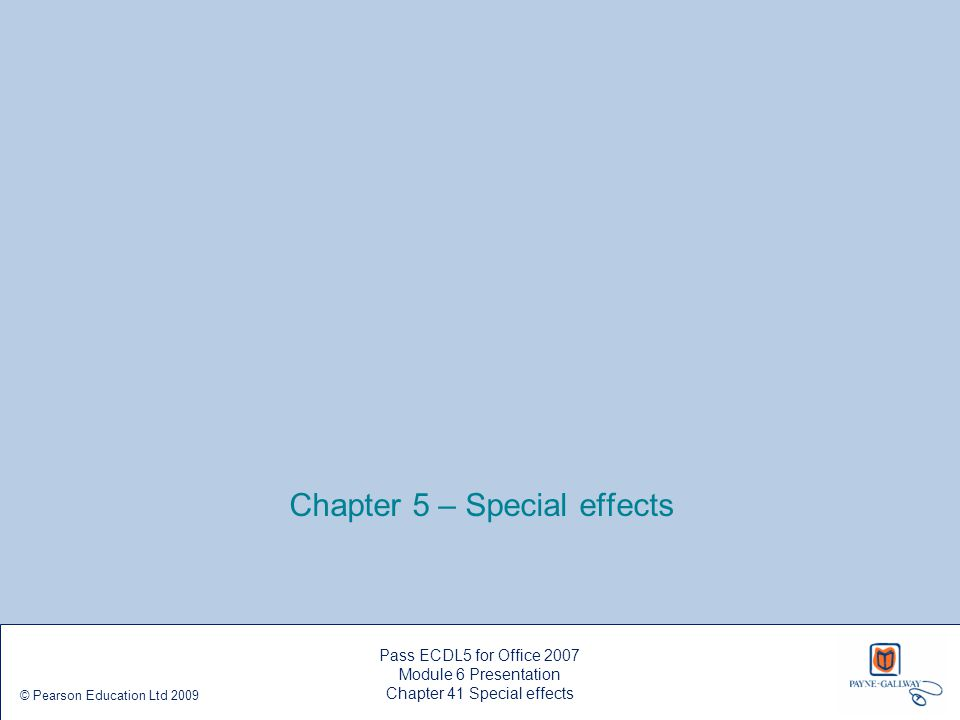 Chapter 5 – Special effects