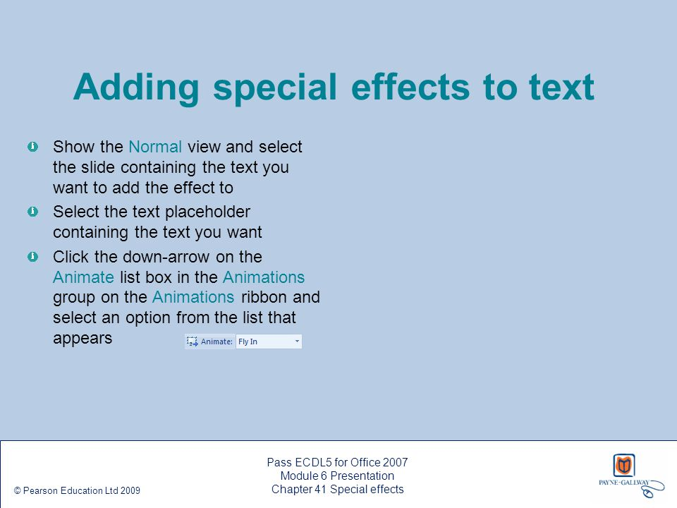 Adding special effects to text