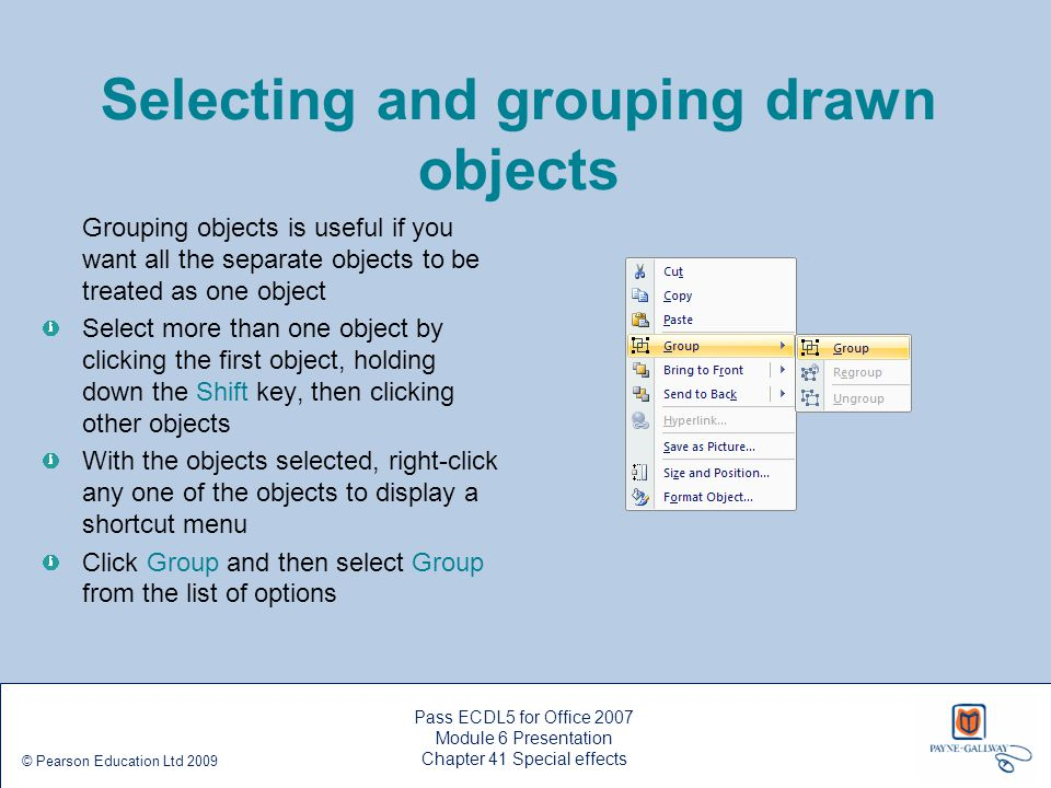 Selecting and grouping drawn objects