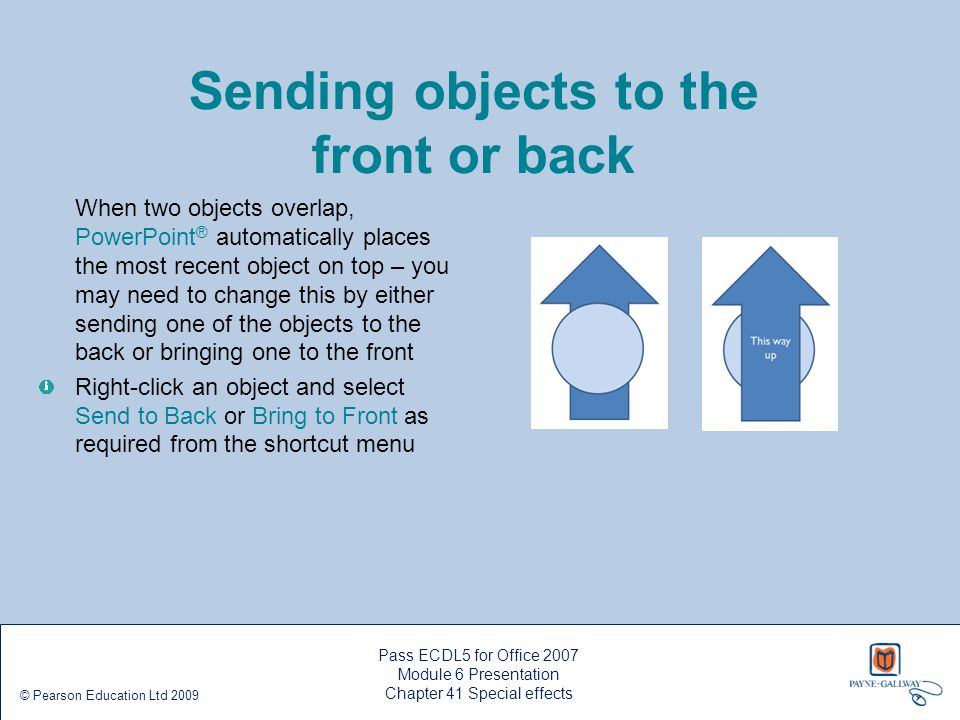 Sending objects to the front or back