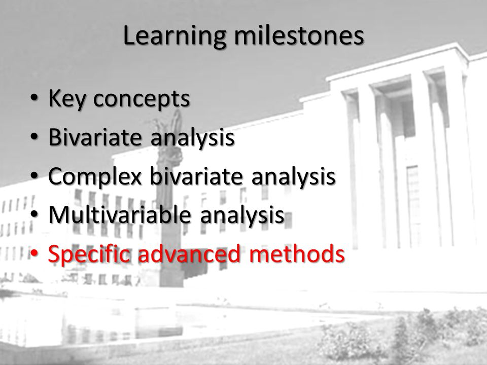 Learning milestones Key concepts Bivariate analysis