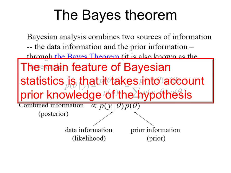 The Bayes theorem The main feature of Bayesian statistics is that it takes into account prior knowledge of the hypothesis.